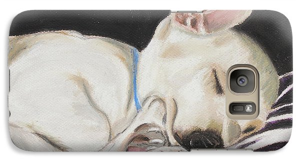 Galaxy Case featuring the painting Hanks Sleeping by Jeanne Fischer