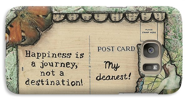 Galaxy Case featuring the mixed media Happiness Is A Journey Inspirational Mixed Media Folk Art by Stanka Vukelic