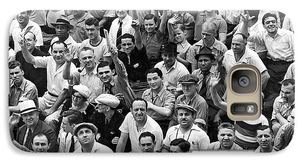 Happy Baseball Fans In The Bleachers At Yankee Stadium. Galaxy S7 Case by Underwood Archives
