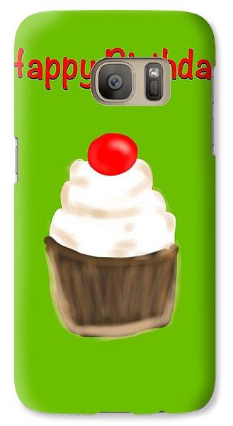 Galaxy Case featuring the digital art Happy Bday W A Cherry On Top by Christine Fournier