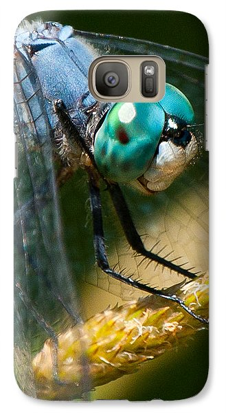 Galaxy Case featuring the photograph Happy Blue Dragonfly by Janis Knight