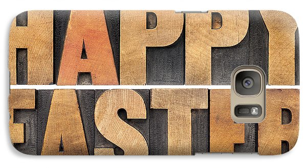 Galaxy Case featuring the photograph Happy Easter In Wood Type by Marek Uliasz