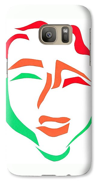 Galaxy Case featuring the mixed media Happy Face by Delin Colon