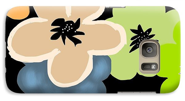 Galaxy Case featuring the digital art Happy Flowers Blue by Christine Fournier