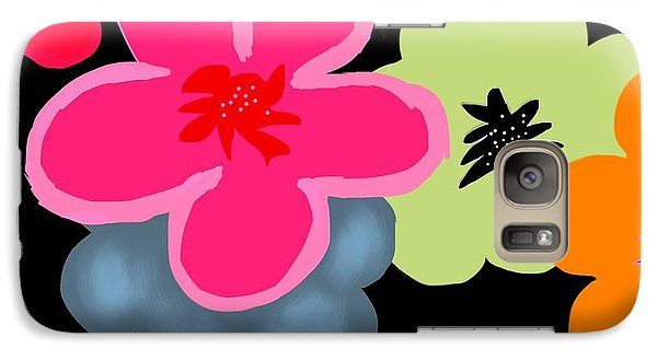 Galaxy Case featuring the digital art Happy Flowers Pink by Christine Fournier