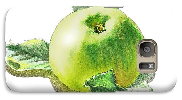 Galaxy Case featuring the painting Happy Green Apple by Irina Sztukowski