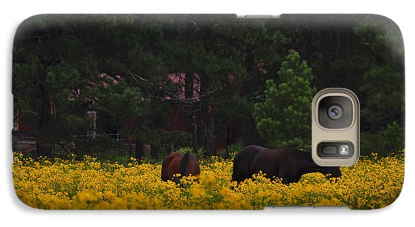 Galaxy Case featuring the photograph Happy Horses by Tom Kelly