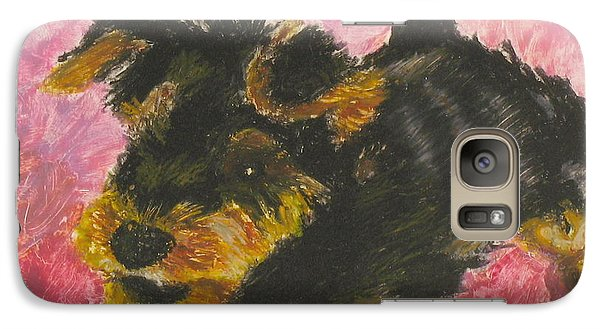 Galaxy Case featuring the painting Happy by Jeanne Fischer