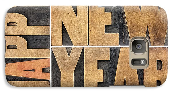 Galaxy Case featuring the photograph Happy New Year In Wood Type by Marek Uliasz