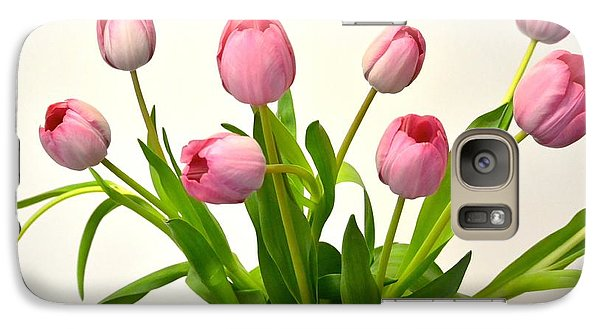 Galaxy Case featuring the digital art Happy Spring Pink Tulips 2 by Jeannie Rhode