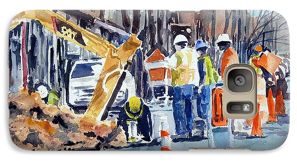 Galaxy Case featuring the painting Hard Hats Digging Crew by Ron Stephens