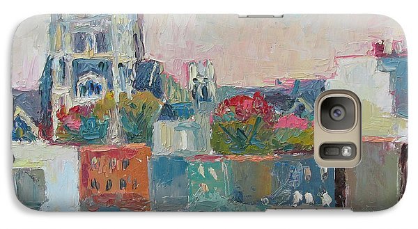 Galaxy Case featuring the painting Harlem Rooftops by Linda Novick