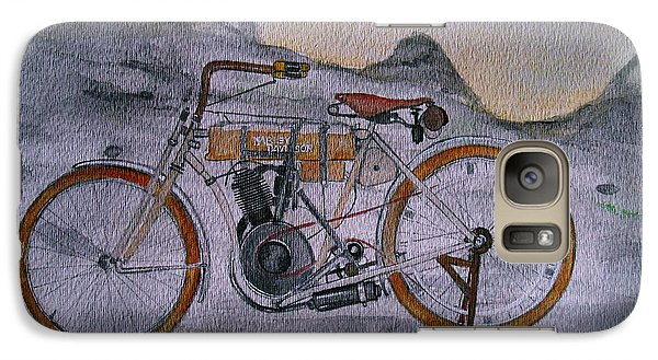 Galaxy Case featuring the painting Harley Davidson 1907 Bike by Pristine Cartera Turkus