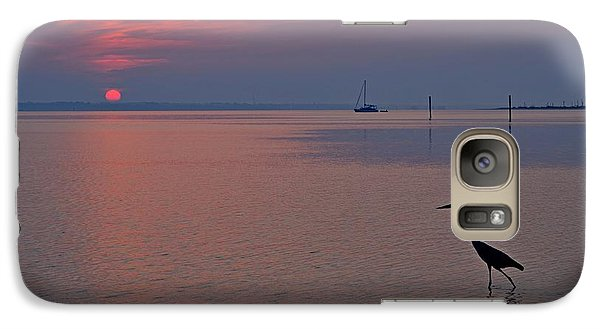 Galaxy Case featuring the photograph Harry The Heron Fishing On Santa Rosa Sound At Sunrise by Jeff at JSJ Photography