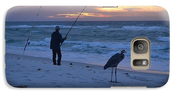 Galaxy Case featuring the photograph Harry The Heron Fishing With Fisherman On Navarre Beach At Sunrise by Jeff at JSJ Photography