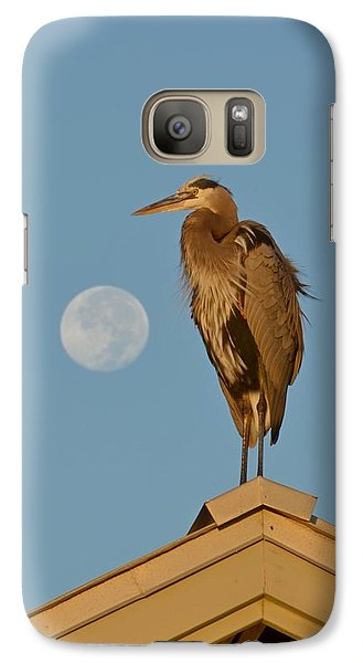 Galaxy Case featuring the photograph Harry The Heron Ponders A Trip To The Full Moon by Jeff at JSJ Photography