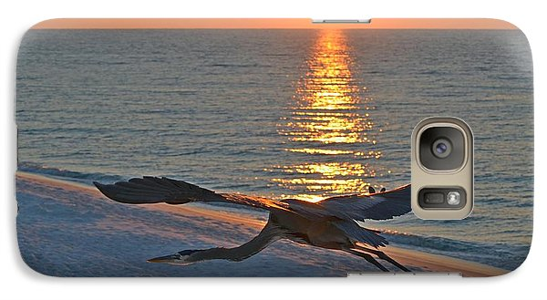 Galaxy Case featuring the photograph Harry The Heron Takes Flight To Reposition His Guard Over Navarre Beach At Sunrise by Jeff at JSJ Photography