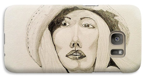 Galaxy Case featuring the drawing Hat Girl 007 by Rand Swift