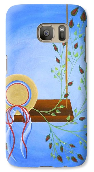 Galaxy Case featuring the painting Hat On A Swing by Ron Davidson