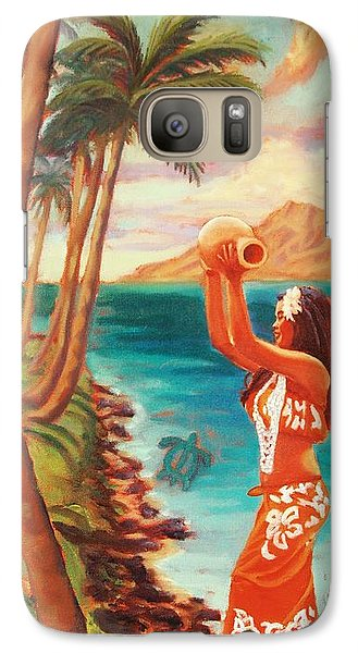 Galaxy Case featuring the painting Hawaiian Hula Wahine by Janet McDonald