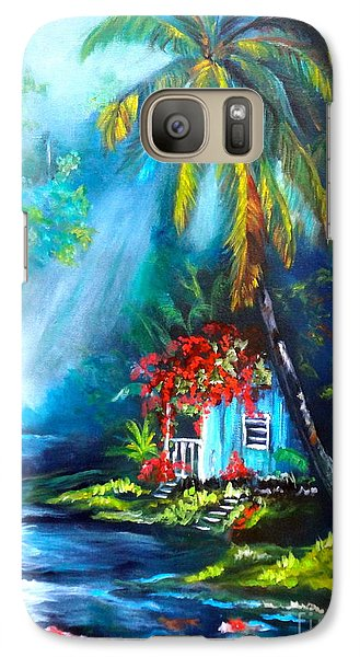 Galaxy Case featuring the painting Hawaiian Hut In The Mist by Jenny Lee