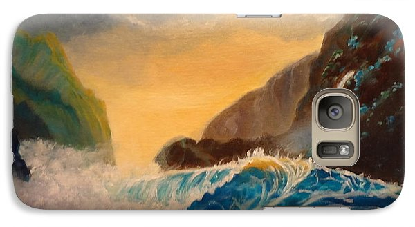 Galaxy Case featuring the painting Hawaiian Turquoise Sunset   Copyright by Jenny Lee