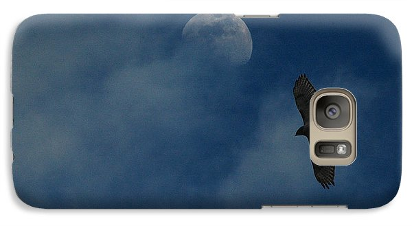 Galaxy Case featuring the photograph Hawk And Moon Coming Out Of The Mist by Raymond Salani III