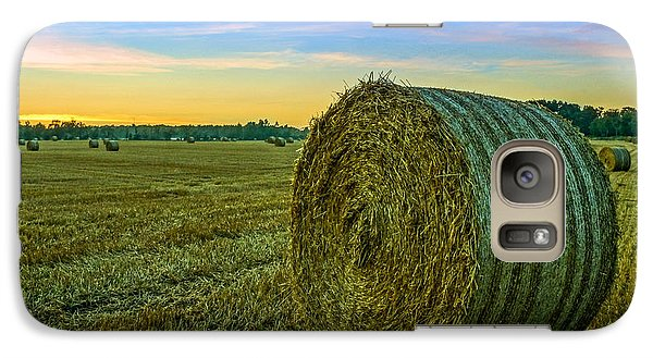 Galaxy Case featuring the photograph Hay Bales Before Dusk by Alex Weinstein