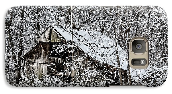 Galaxy Case featuring the photograph Hay Barn In Snow by Debbie Green