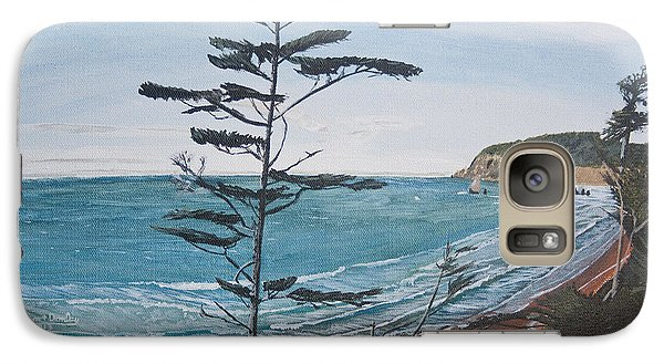 Galaxy Case featuring the painting Hay Stack Rock From The South On The Oregon Coast by Ian Donley