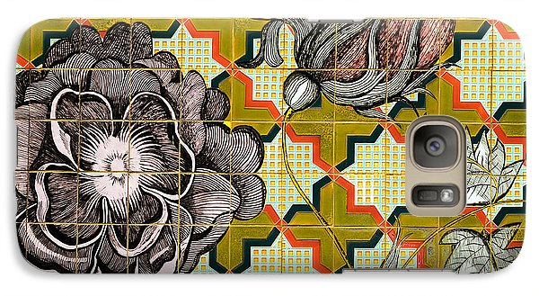 Galaxy Case featuring the photograph Hdr Tiled Flowers by MaryJane Armstrong