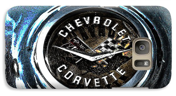 Galaxy Case featuring the photograph Hdr Vintage Corvette Emblem Art by Lesa Fine