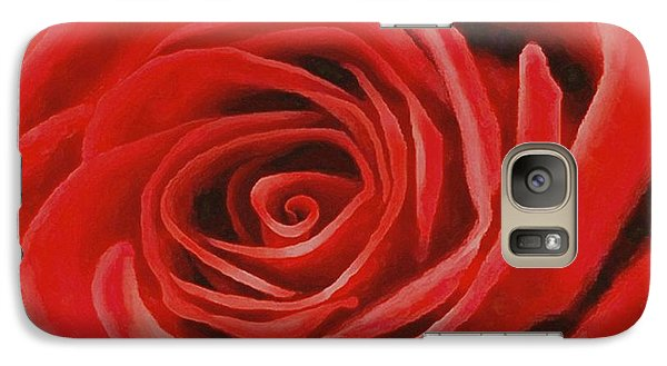 Galaxy Case featuring the painting Heart Of A Red Rose by Sophia Schmierer