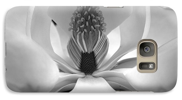 Galaxy Case featuring the photograph Heart Of The Magnolia Black And White by Andy Lawless