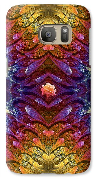 Galaxy Case featuring the digital art Hearts And A Flower by Lea Wiggins