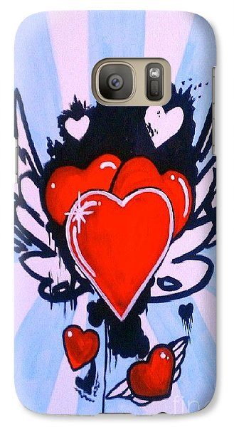 Galaxy Case featuring the painting Hearts by Marisela Mungia