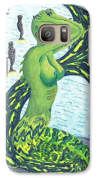 Galaxy Case featuring the drawing Heaven And The Sea. by Kenneth Clarke