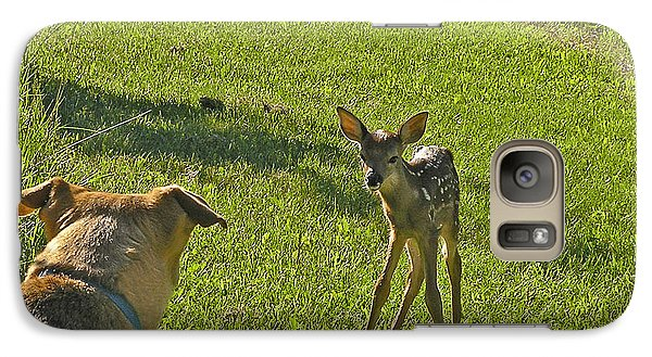 Galaxy Case featuring the photograph Heidi And The Fawn by Judy  Johnson