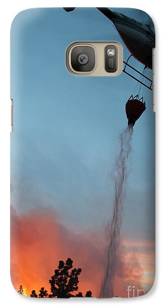 Galaxy Case featuring the photograph Helicopter Drops Water On White Draw Fire by Bill Gabbert