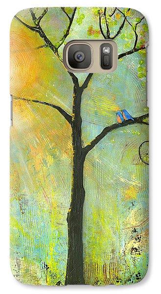 Hello Sunshine Tree Birds Sun Art Print Galaxy S7 Case