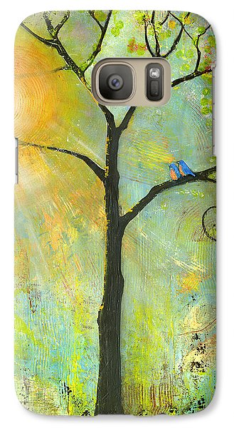 Hello Sunshine Tree Birds Sun Art Print Galaxy S7 Case by Blenda Studio