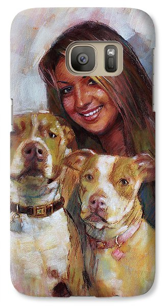 Galaxy Case featuring the drawing Her Best Friends by Viola El