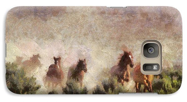 Galaxy Case featuring the painting Herd Of Wild Horses by Georgi Dimitrov