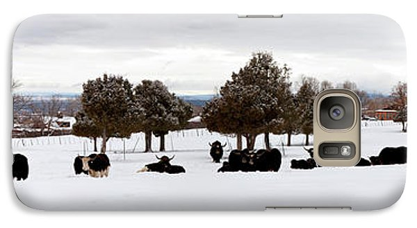 Herd Of Yaks Bos Grunniens On Snow Galaxy Case by Panoramic Images