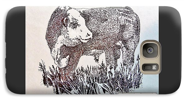Galaxy Case featuring the drawing Polled Hereford Bull  by Larry Campbell