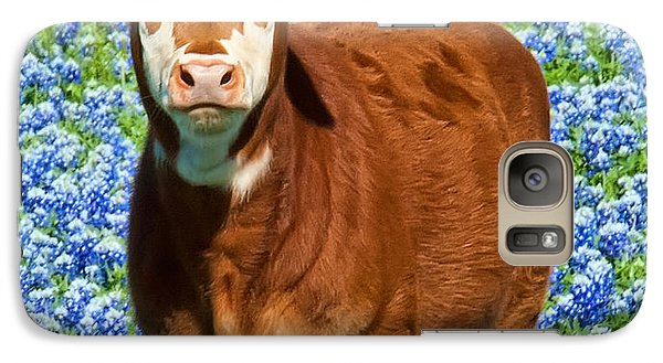 Galaxy Case featuring the photograph Heres Looking At You Kid - Calf With Bluebonnets In Texas by David Perry Lawrence