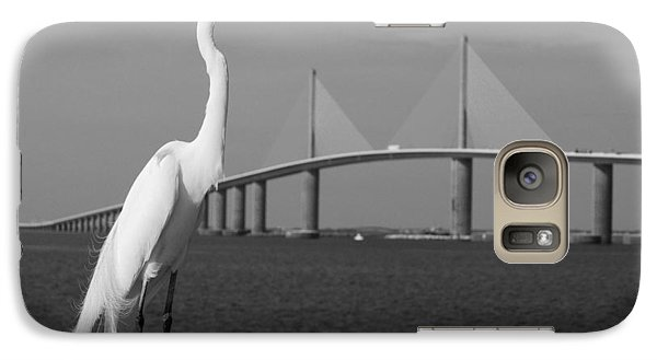 Galaxy Case featuring the photograph Heron And Skyway by Daniel Woodrum
