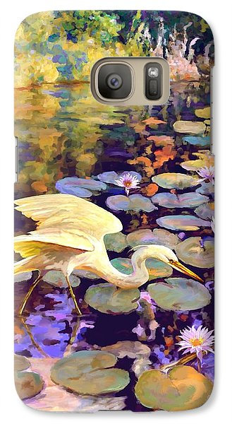 Galaxy Case featuring the painting Heron In Lily Pond by David  Van Hulst