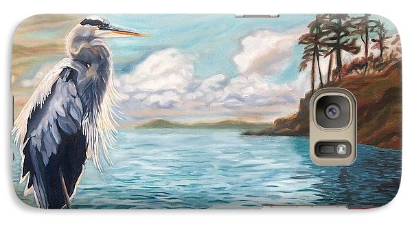 Galaxy Case featuring the painting Heron Mystique by Janet McDonald