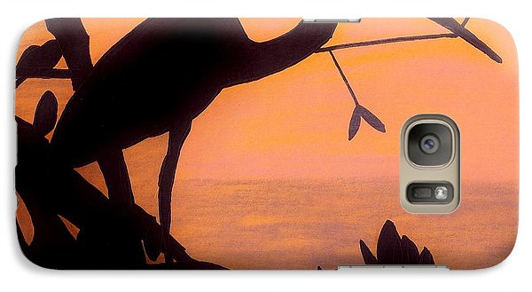 Galaxy Case featuring the drawing Heron Sunset by D Hackett